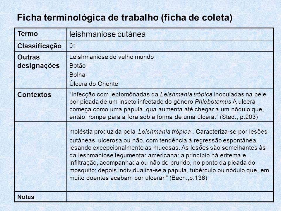 Ficha terminológica de trabalho (ficha de coleta) Termo leishmaniose cutânea Classificação 01 Outras designações Leishmaniose do velho mundo Botão Bol