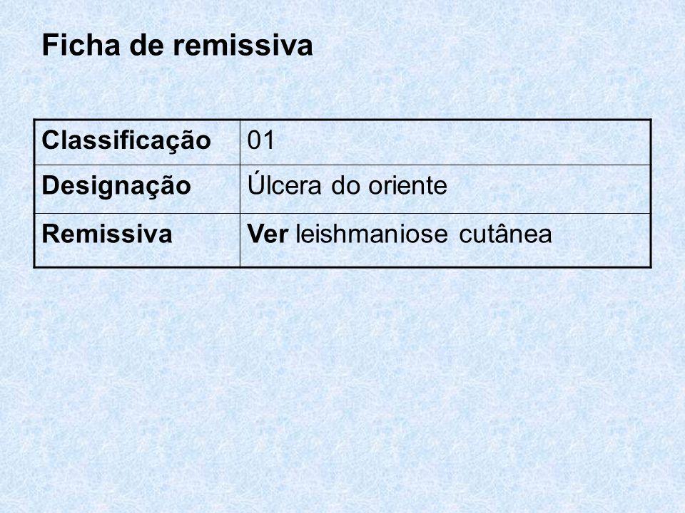 Ficha de remissiva Classificação01 DesignaçãoÚlcera do oriente RemissivaVer leishmaniose cutânea