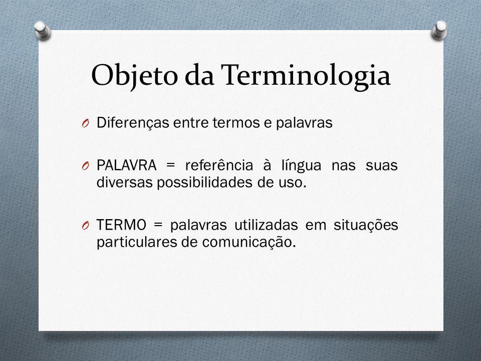 Objeto da Terminologia O Diferenças entre termos e palavras O PALAVRA = referência à língua nas suas diversas possibilidades de uso. O TERMO = palavra