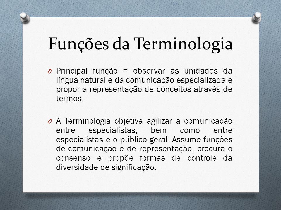 Funções da Terminologia O Principal função = observar as unidades da língua natural e da comunicação especializada e propor a representação de conceit