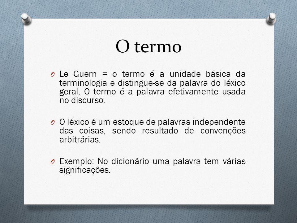 O termo O Le Guern = o termo é a unidade básica da terminologia e distingue-se da palavra do léxico geral. O termo é a palavra efetivamente usada no d