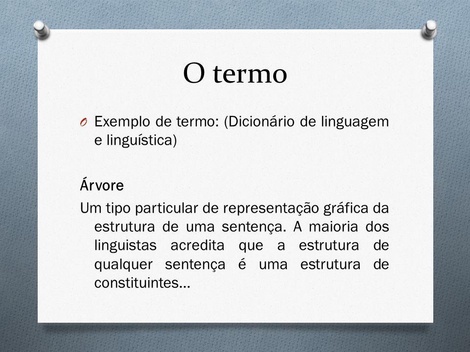 O termo O Exemplo de termo: (Dicionário de linguagem e linguística) Árvore Um tipo particular de representação gráfica da estrutura de uma sentença. A