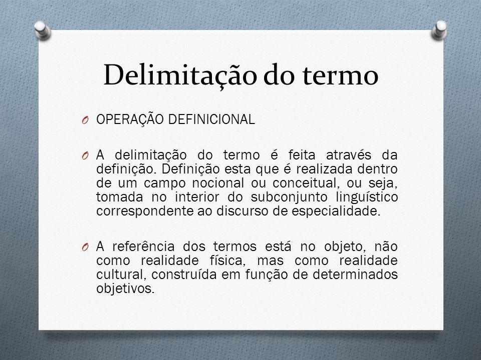 Delimitação do termo O OPERAÇÃO DEFINICIONAL O A delimitação do termo é feita através da definição. Definição esta que é realizada dentro de um campo