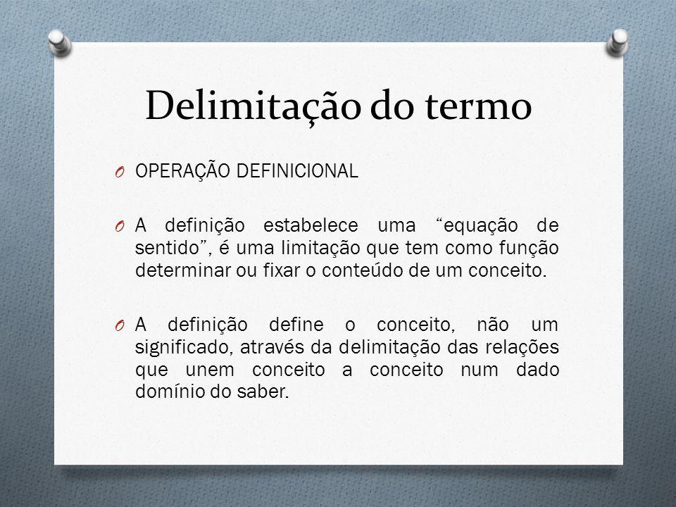 Delimitação do termo O OPERAÇÃO DEFINICIONAL O A definição estabelece uma equação de sentido, é uma limitação que tem como função determinar ou fixar