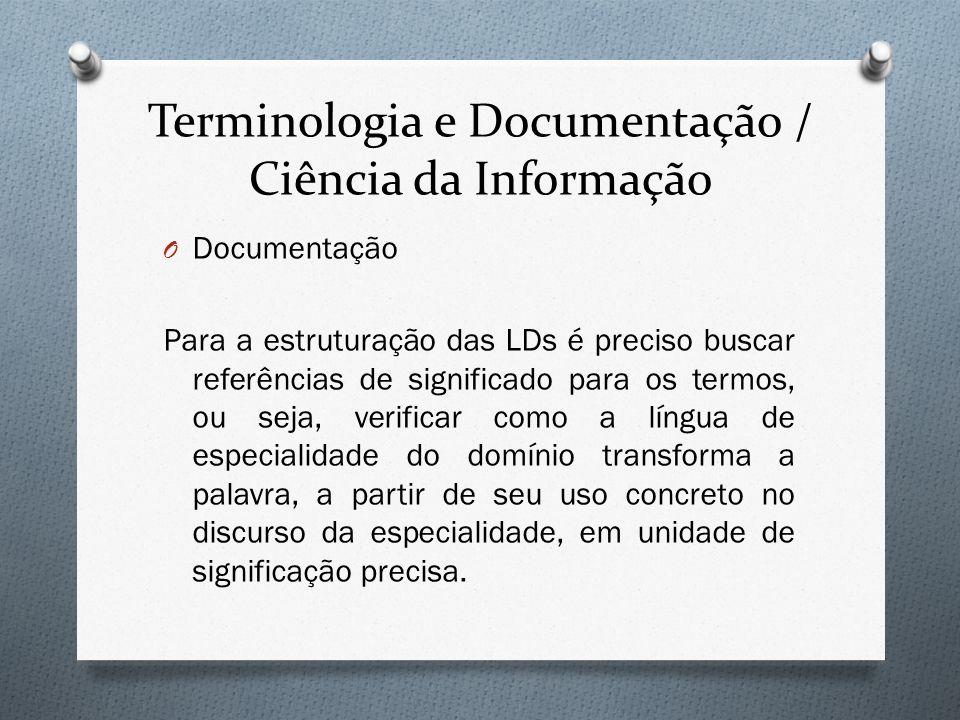Terminologia e Documentação / Ciência da Informação O Documentação Para a estruturação das LDs é preciso buscar referências de significado para os ter