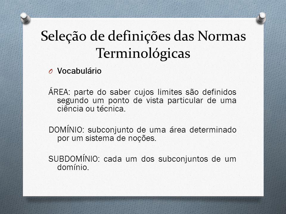 Seleção de definições das Normas Terminológicas O Vocabulário ÁREA: parte do saber cujos limites são definidos segundo um ponto de vista particular de