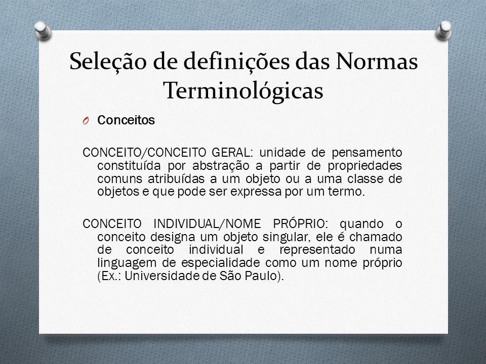 Seleção de definições das Normas Terminológicas O Conceitos CONCEITO/CONCEITO GERAL: unidade de pensamento constituída por abstração a partir de propr