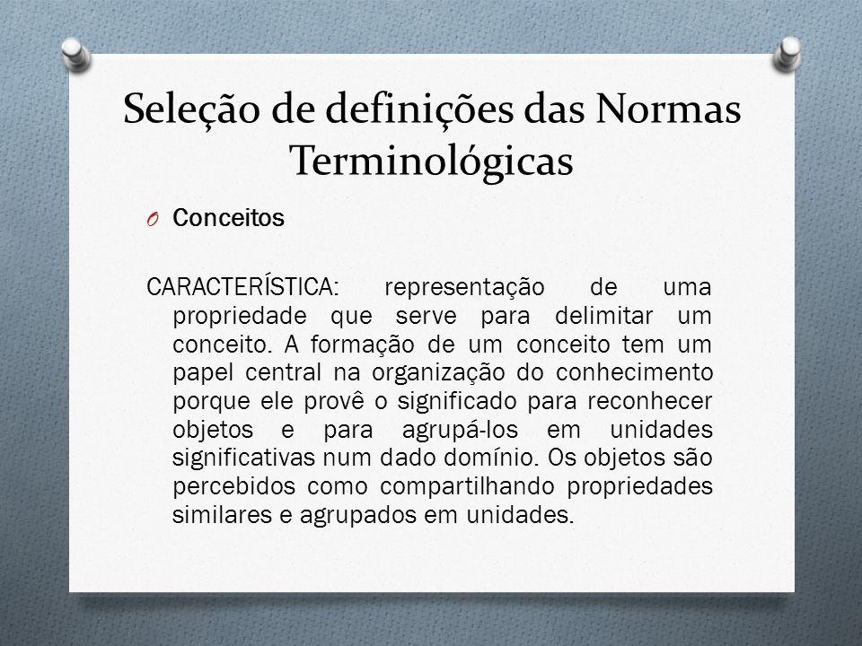 Seleção de definições das Normas Terminológicas O Conceitos CARACTERÍSTICA: representação de uma propriedade que serve para delimitar um conceito. A f