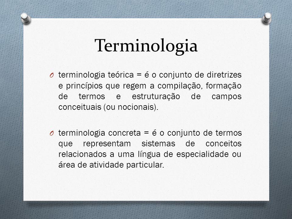 Terminologia O terminologia teórica = é o conjunto de diretrizes e princípios que regem a compilação, formação de termos e estruturação de campos conc