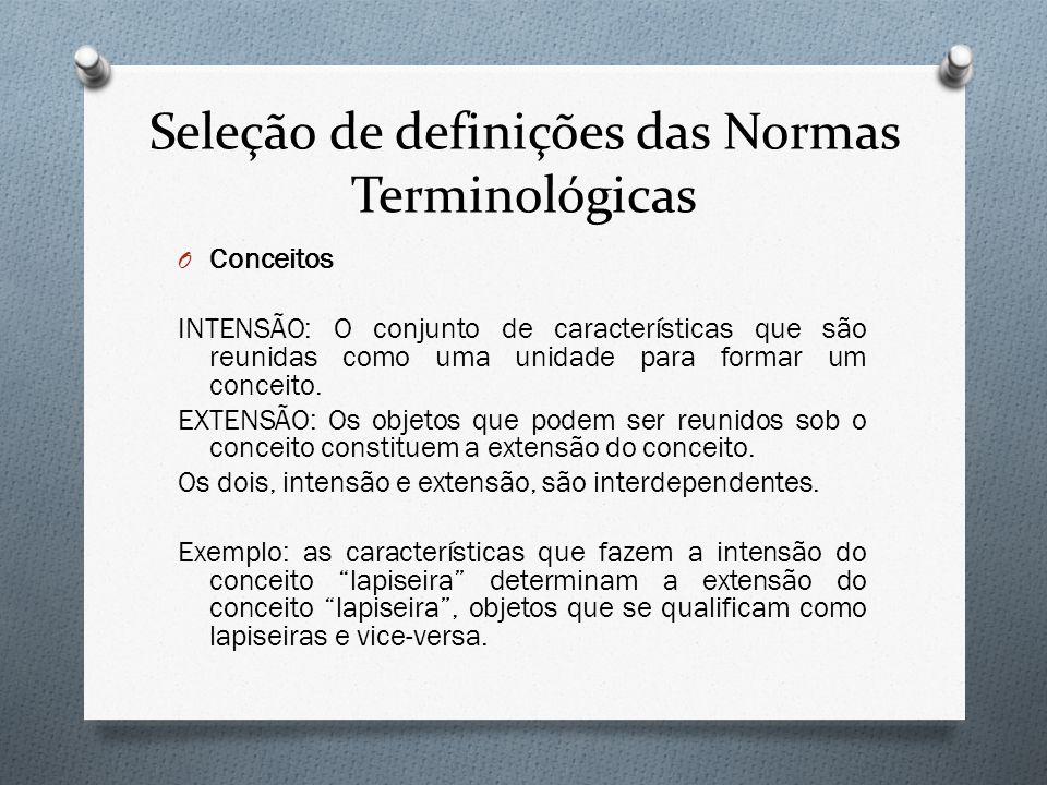 Seleção de definições das Normas Terminológicas O Conceitos INTENSÃO: O conjunto de características que são reunidas como uma unidade para formar um c