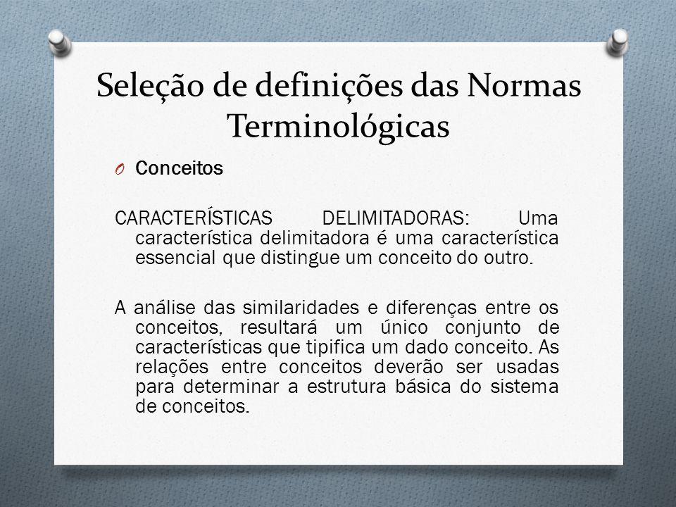 Seleção de definições das Normas Terminológicas O Conceitos CARACTERÍSTICAS DELIMITADORAS: Uma característica delimitadora é uma característica essenc
