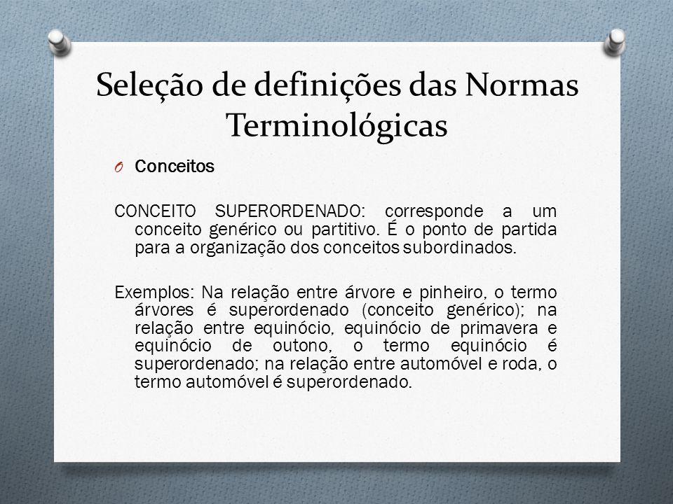 Seleção de definições das Normas Terminológicas O Conceitos CONCEITO SUPERORDENADO: corresponde a um conceito genérico ou partitivo. É o ponto de part