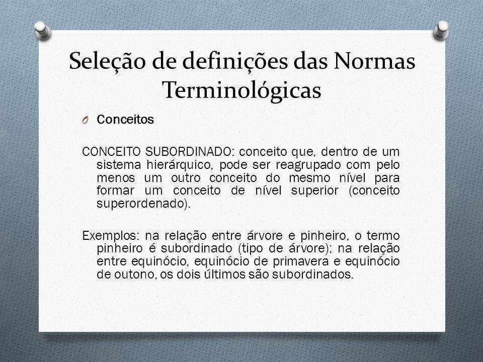 Seleção de definições das Normas Terminológicas O Conceitos CONCEITO SUBORDINADO: conceito que, dentro de um sistema hierárquico, pode ser reagrupado