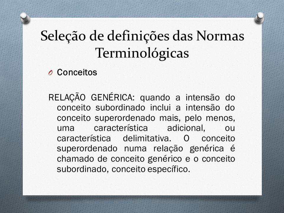 Seleção de definições das Normas Terminológicas O Conceitos RELAÇÃO GENÉRICA: quando a intensão do conceito subordinado inclui a intensão do conceito