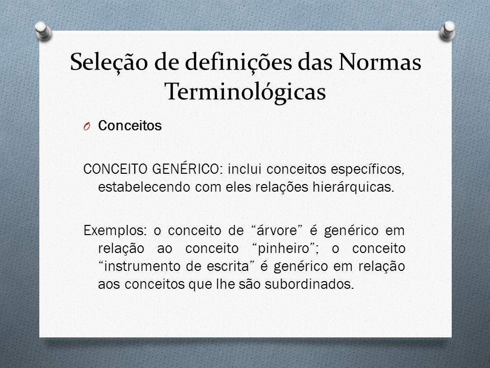 Seleção de definições das Normas Terminológicas O Conceitos CONCEITO GENÉRICO: inclui conceitos específicos, estabelecendo com eles relações hierárqui