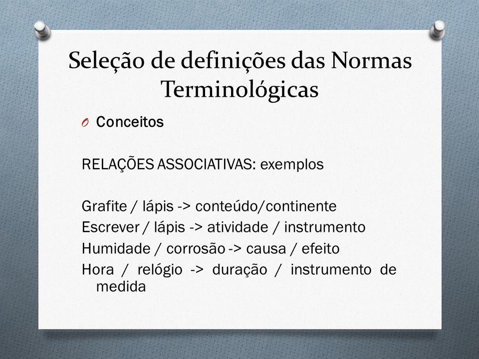 Seleção de definições das Normas Terminológicas O Conceitos RELAÇÕES ASSOCIATIVAS: exemplos Grafite / lápis -> conteúdo/continente Escrever / lápis ->