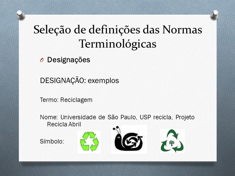 Seleção de definições das Normas Terminológicas O Designações DESIGNAÇÃO: exemplos Termo: Reciclagem Nome: Universidade de São Paulo, USP recicla, Pro