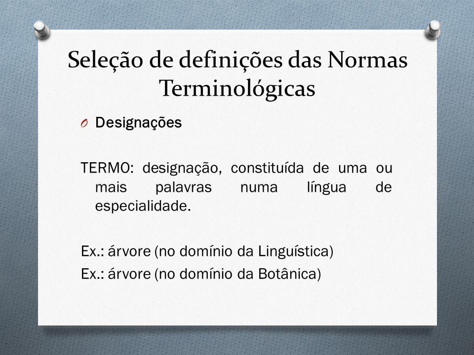 Seleção de definições das Normas Terminológicas O Designações TERMO: designação, constituída de uma ou mais palavras numa língua de especialidade. Ex.