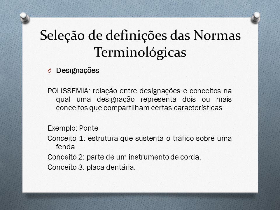 Seleção de definições das Normas Terminológicas O Designações POLISSEMIA: relação entre designações e conceitos na qual uma designação representa dois
