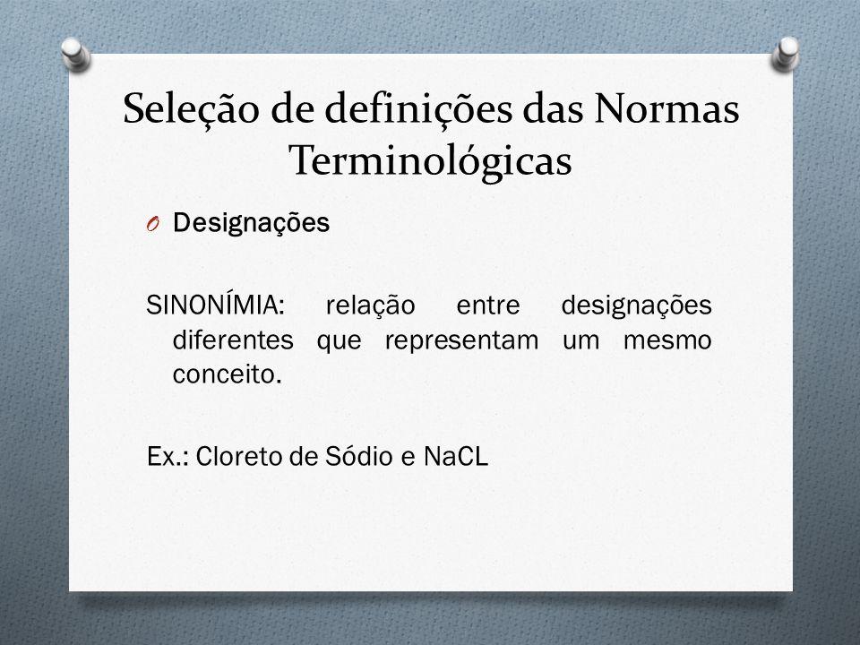 Seleção de definições das Normas Terminológicas O Designações SINONÍMIA: relação entre designações diferentes que representam um mesmo conceito. Ex.: