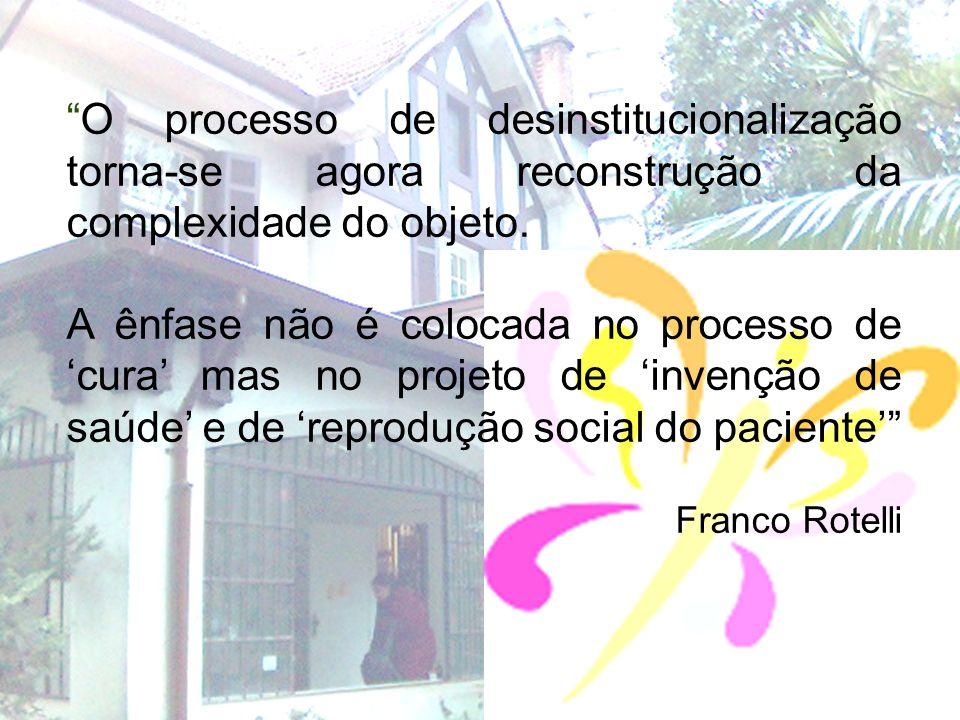 O processo de desinstitucionalização torna-se agora reconstrução da complexidade do objeto. A ênfase não é colocada no processo de cura mas no projeto