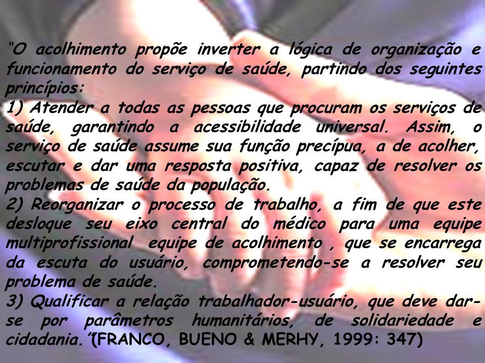 O acolhimento propõe inverter a lógica de organização e funcionamento do serviço de saúde, partindo dos seguintes princípios: 1) Atender a todas as pe