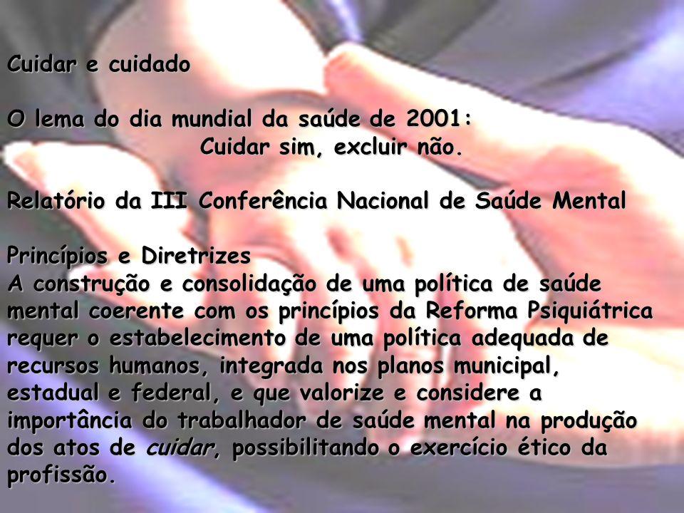 Cuidar e cuidado O lema do dia mundial da saúde de 2001: Cuidar sim, excluir não. Relatório da III Conferência Nacional de Saúde Mental Princípios e D