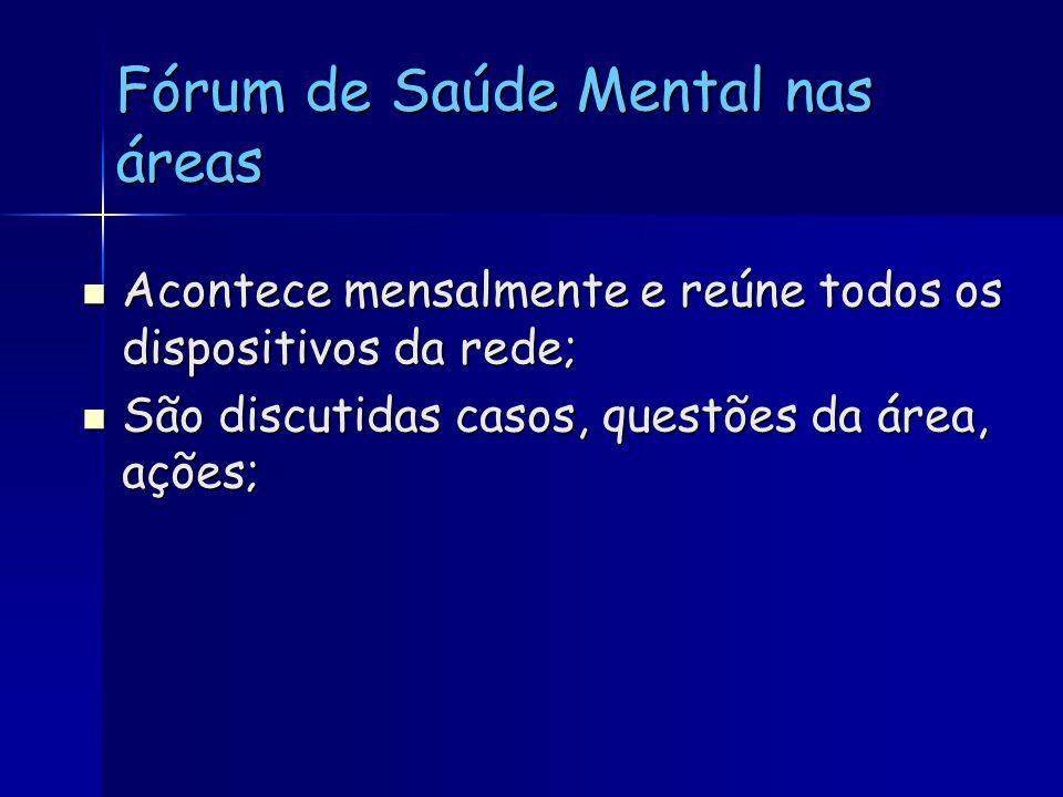Fórum de Saúde Mental nas áreas Acontece mensalmente e reúne todos os dispositivos da rede; Acontece mensalmente e reúne todos os dispositivos da rede