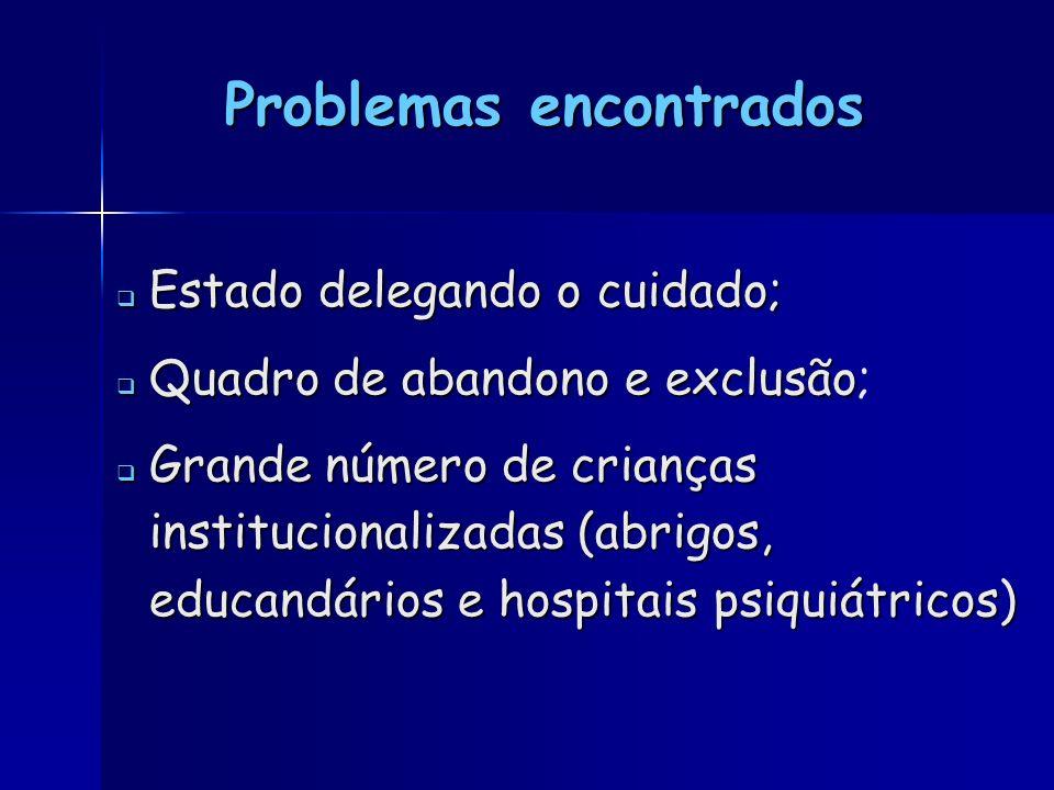 Problemas encontrados Estado delegando o cuidado; Estado delegando o cuidado; Quadro de abandono e exclusão Quadro de abandono e exclusão; Grande núme
