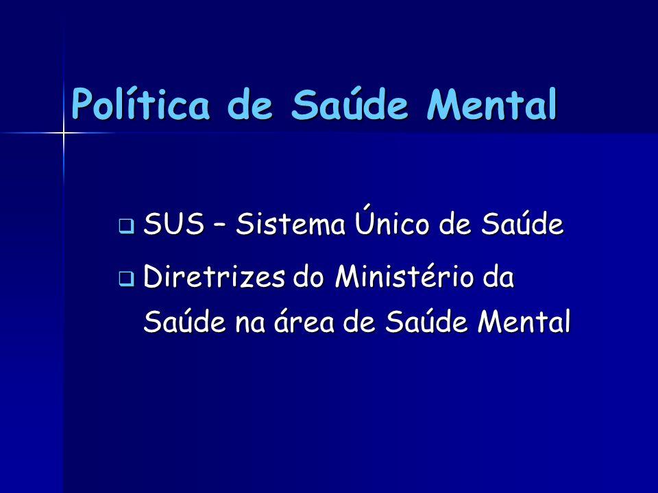 Política de Saúde Mental SUS – Sistema Único de Saúde SUS – Sistema Único de Saúde Diretrizes do Ministério da Saúde na área de Saúde Mental Diretrize