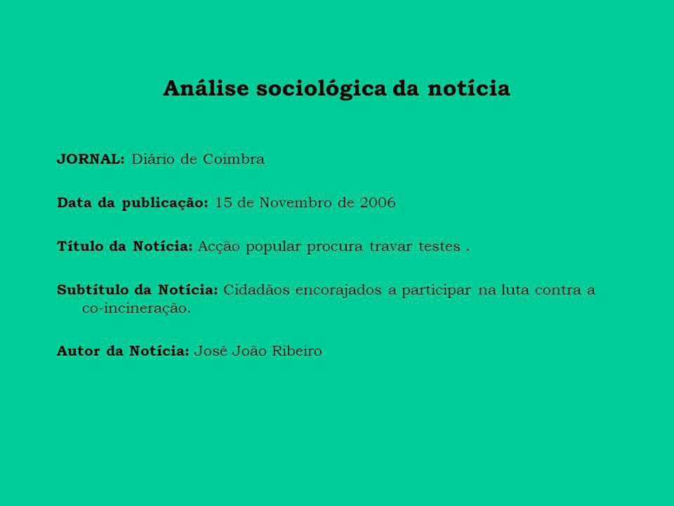 Análise sociológica da notícia JORNAL: Diário de Coimbra Data da publicação: 15 de Novembro de 2006 Título da Notícia: Acção popular procura travar testes.