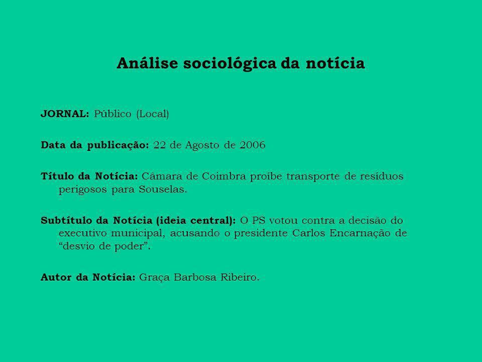 Análise sociológica da notícia JORNAL: Público (Local) Data da publicação: 22 de Agosto de 2006 Título da Notícia: Câmara de Coimbra proíbe transporte de resíduos perigosos para Souselas.