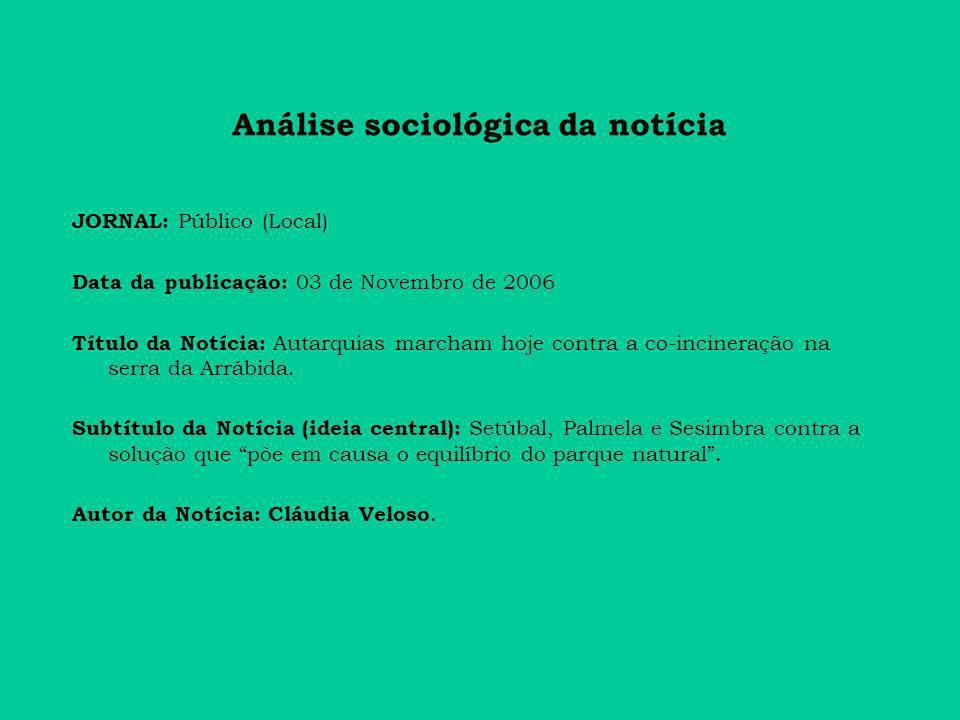 Análise sociológica da notícia JORNAL: Público (Local) Data da publicação: 03 de Novembro de 2006 Título da Notícia: Autarquias marcham hoje contra a co-incineração na serra da Arrábida.