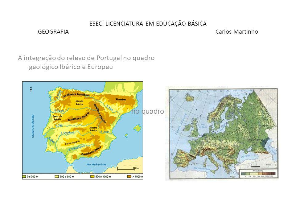 ESEC: LICENCIATURA EM EDUCAÇÃO BÁSICA GEOGRAFIA Carlos Martinho A integração do relevo de Portugal no quadro geológico Ibérico e Europeu no quadro