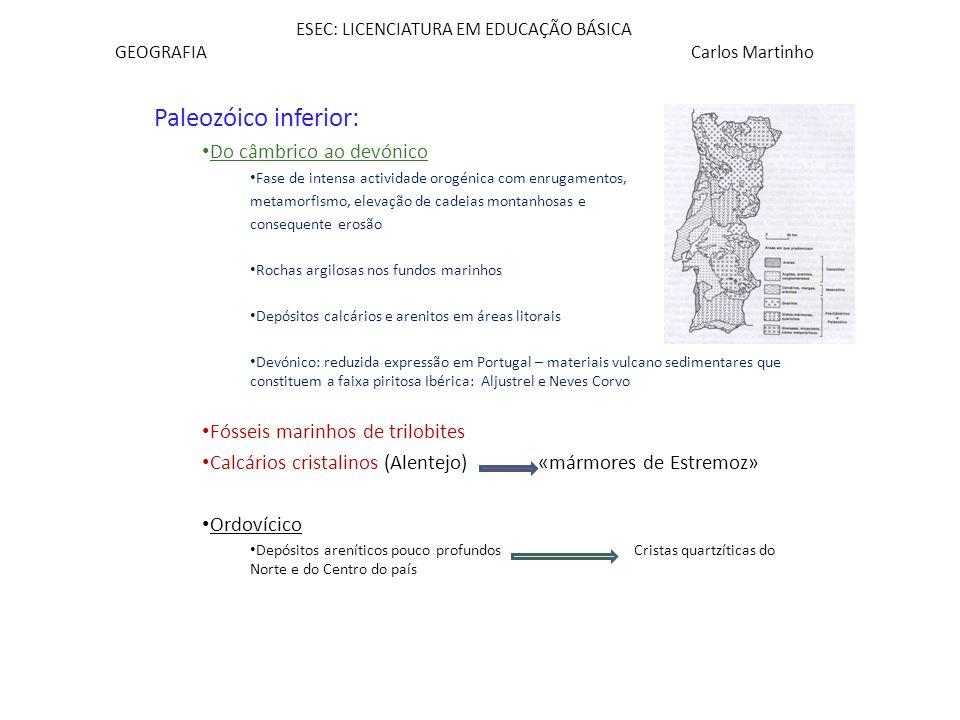 ESEC: LICENCIATURA EM EDUCAÇÃO BÁSICA GEOGRAFIA Carlos Martinho Paleozóico inferior: Do câmbrico ao devónico Fase de intensa actividade orogénica com