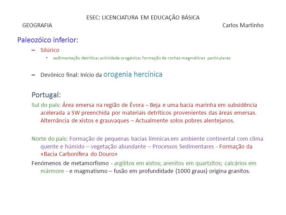ESEC: LICENCIATURA EM EDUCAÇÃO BÁSICA GEOGRAFIA Carlos Martinho Paleozóico inferior: – Silúrico sedimentação detrítica; actividade orogénica; formação