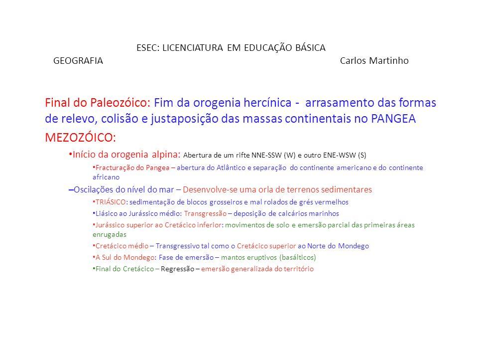 ESEC: LICENCIATURA EM EDUCAÇÃO BÁSICA GEOGRAFIA Carlos Martinho Final do Paleozóico: Fim da orogenia hercínica - arrasamento das formas de relevo, col