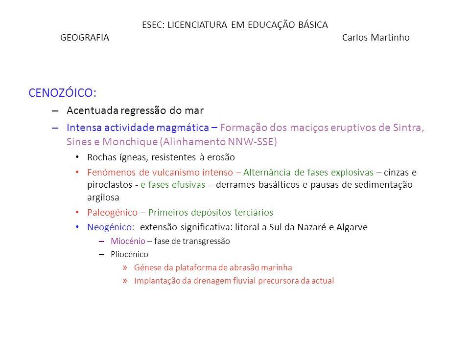 ESEC: LICENCIATURA EM EDUCAÇÃO BÁSICA GEOGRAFIA Carlos Martinho CENOZÓICO: – Acentuada regressão do mar – Intensa actividade magmática – Formação dos