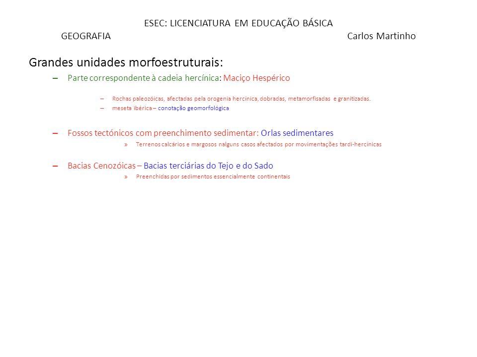 ESEC: LICENCIATURA EM EDUCAÇÃO BÁSICA GEOGRAFIA Carlos Martinho Grandes unidades morfoestruturais: – Parte correspondente à cadeia hercínica: Maciço H