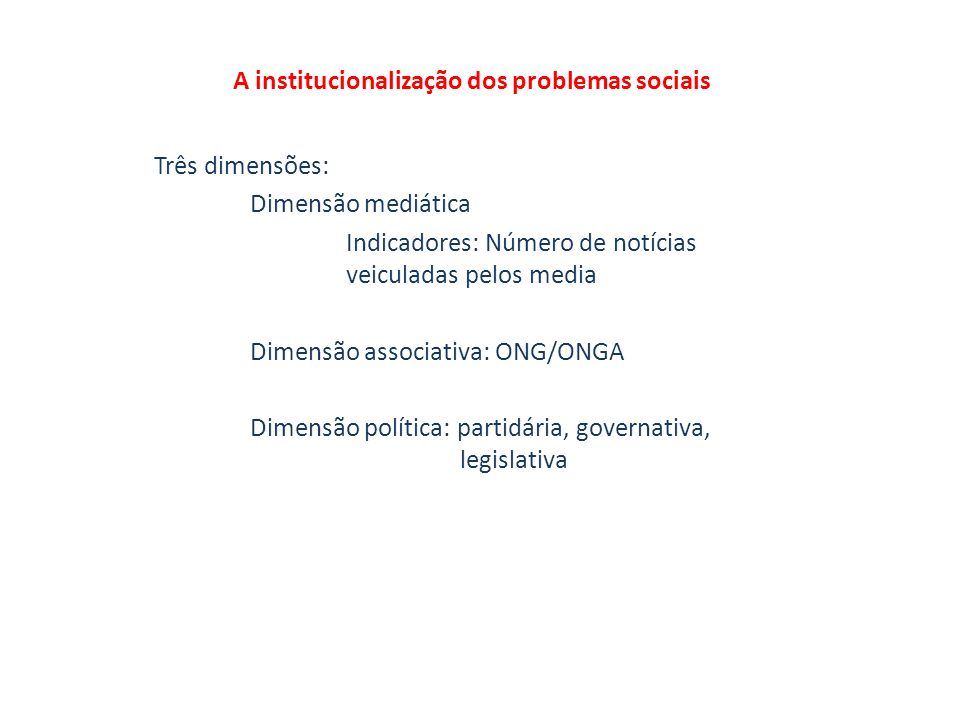A institucionalização dos problemas sociais Três dimensões: Dimensão mediática Indicadores: Número de notícias veiculadas pelos media Dimensão associativa: ONG/ONGA Dimensão política: partidária, governativa, legislativa