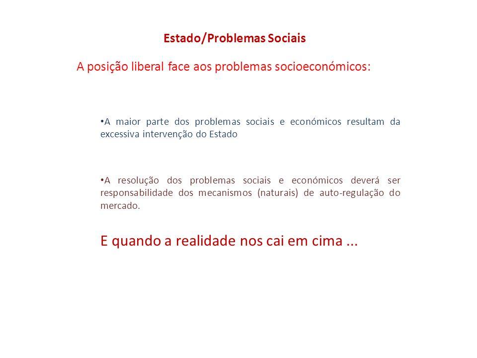 Estado/Problemas Sociais A posição liberal face aos problemas socioeconómicos: A maior parte dos problemas sociais e económicos resultam da excessiva