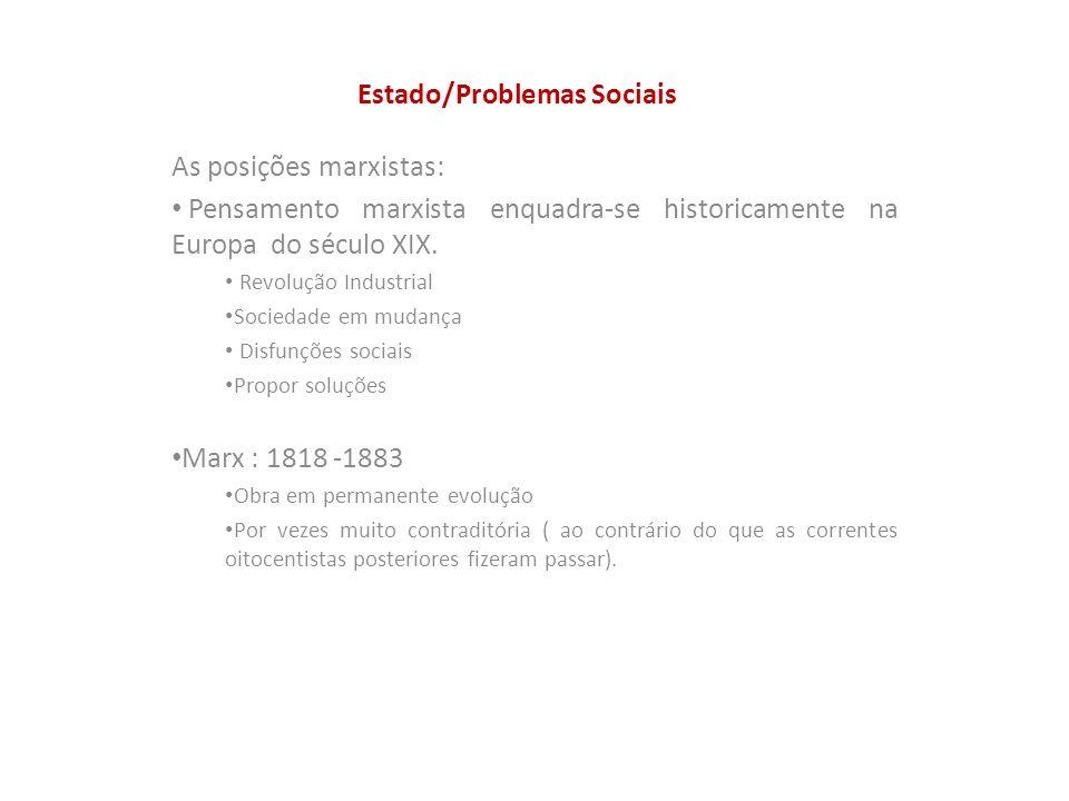 Estado/Problemas Sociais As posições marxistas: Pensamento marxista enquadra-se historicamente na Europa do século XIX. Revolução Industrial Sociedade