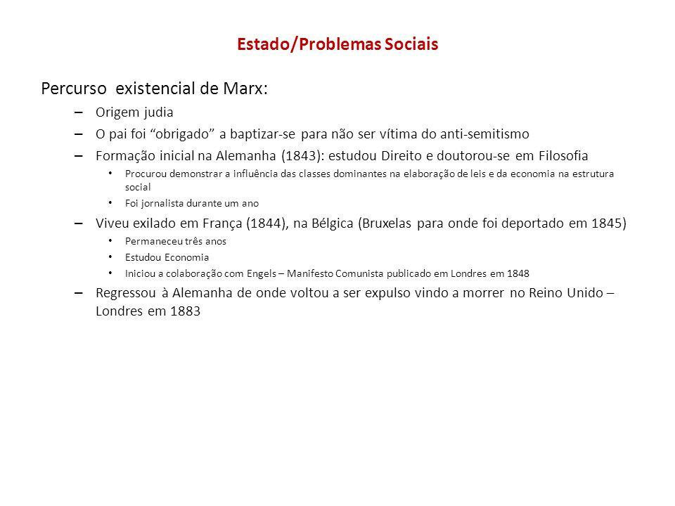 Estado/Problemas Sociais Percurso existencial de Marx: – Origem judia – O pai foi obrigado a baptizar-se para não ser vítima do anti-semitismo – Forma