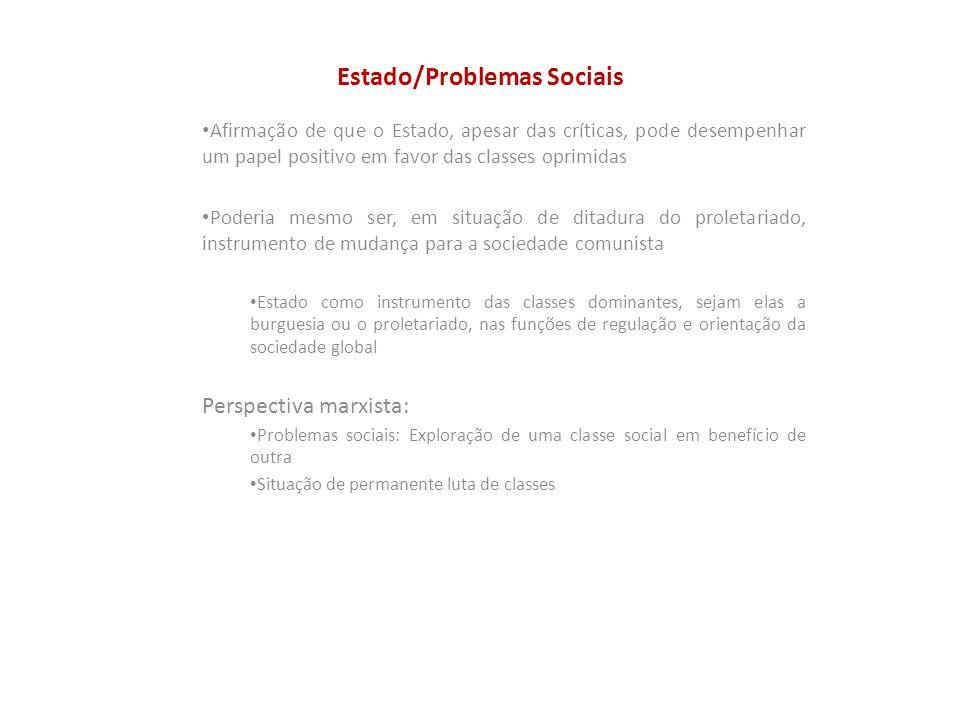 Estado/Problemas Sociais Afirmação de que o Estado, apesar das críticas, pode desempenhar um papel positivo em favor das classes oprimidas Poderia mes