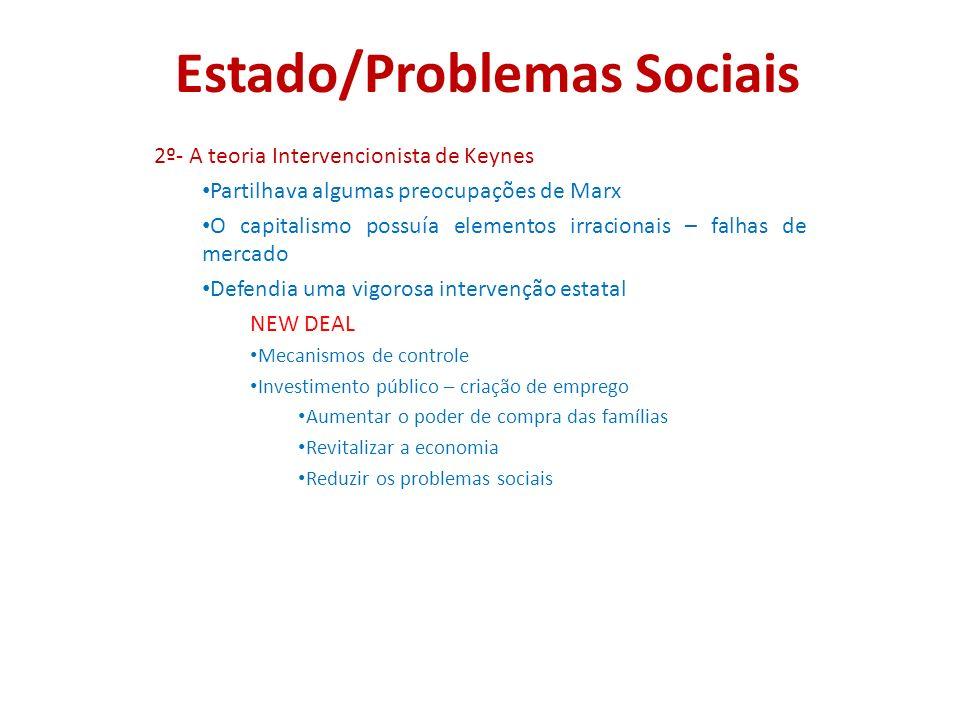 Estado/Problemas Sociais 2º- A teoria Intervencionista de Keynes Partilhava algumas preocupações de Marx O capitalismo possuía elementos irracionais –