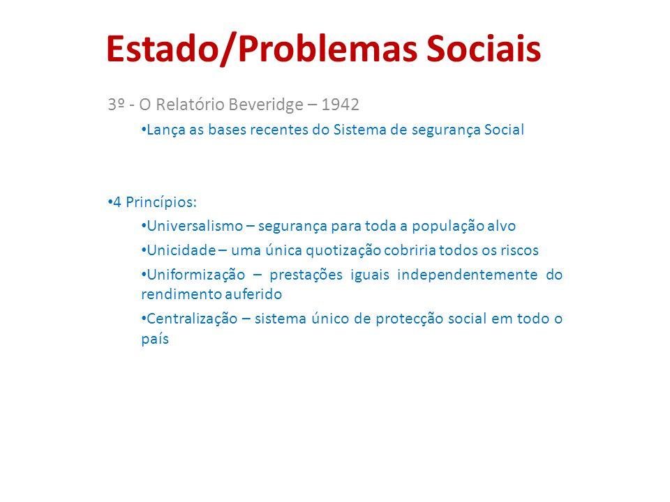 Estado/Problemas Sociais 3º - O Relatório Beveridge – 1942 Lança as bases recentes do Sistema de segurança Social 4 Princípios: Universalismo – segura