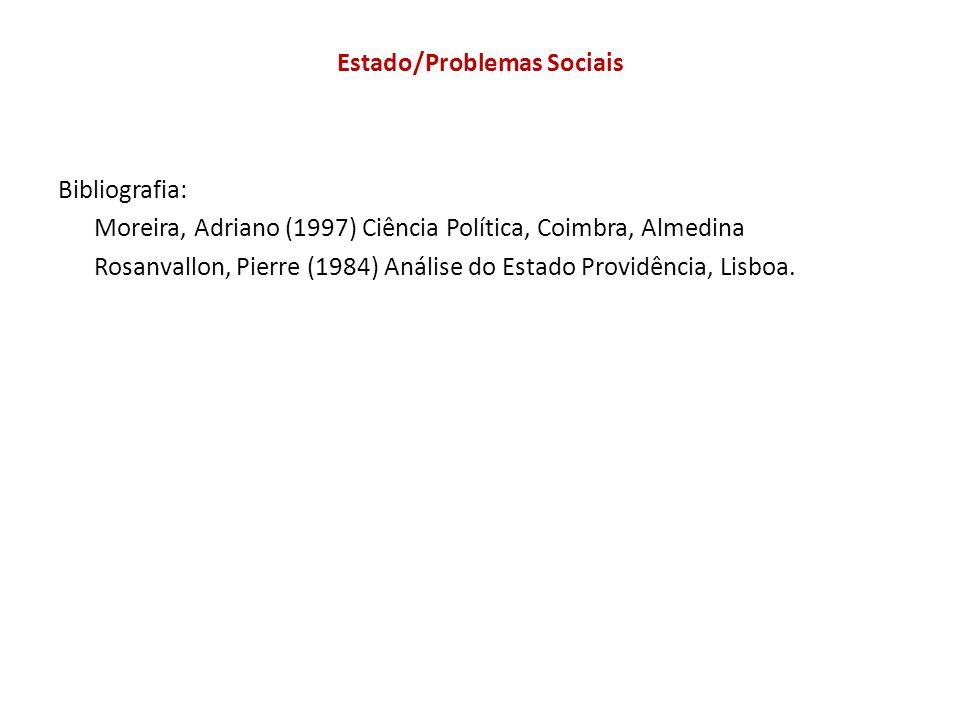 Estado/Problemas Sociais Bibliografia: Moreira, Adriano (1997) Ciência Política, Coimbra, Almedina Rosanvallon, Pierre (1984) Análise do Estado Providência, Lisboa.