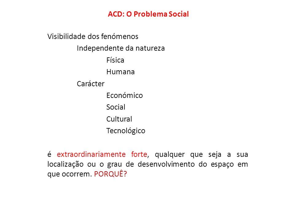 ACD: O Problema Social Visibilidade dos fenómenos Independente da natureza Física Humana Carácter Económico Social Cultural Tecnológico é extraordinar