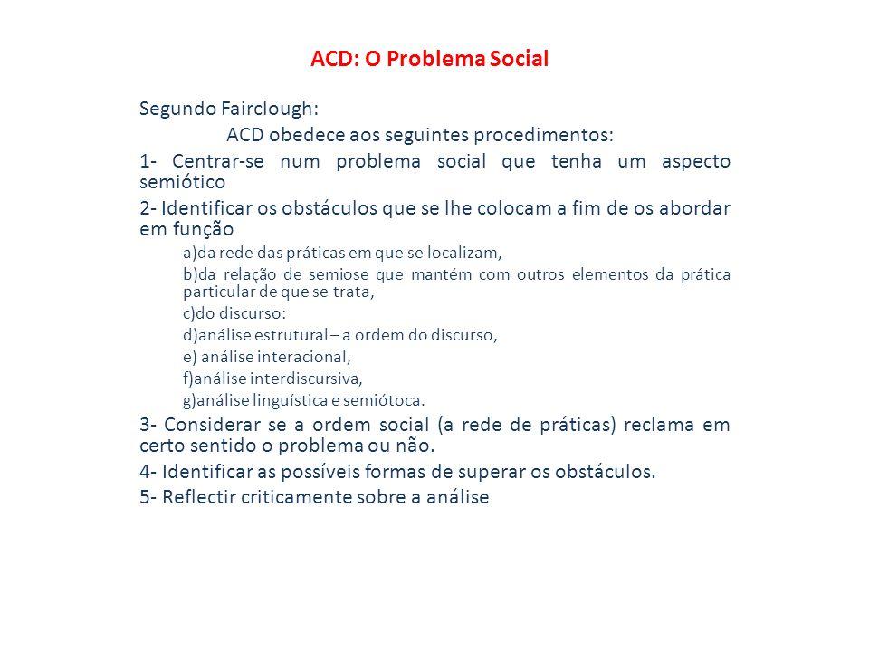 ACD: O Problema Social Segundo Fairclough: ACD obedece aos seguintes procedimentos: 1- Centrar-se num problema social que tenha um aspecto semiótico 2