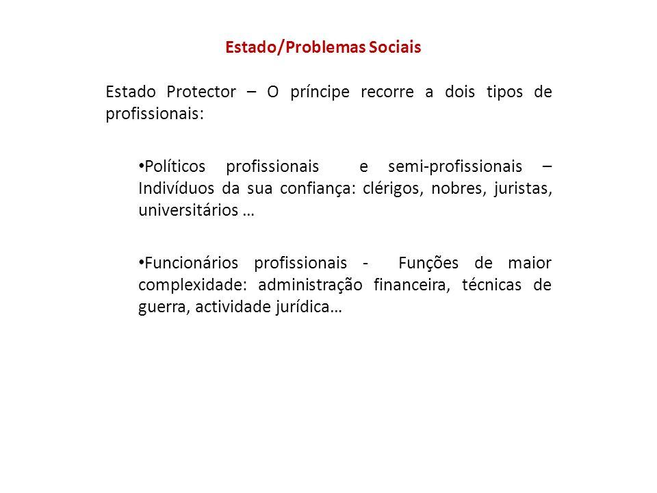 Estado/Problemas Sociais Estado Protector – O príncipe recorre a dois tipos de profissionais: Políticos profissionais e semi-profissionais – Indivíduo